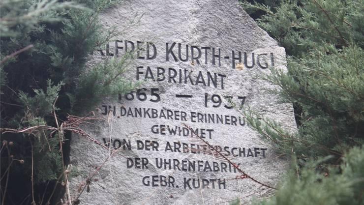 Gedenkstein für «Certina»- Gründer Alfred Kurth-Hugi.