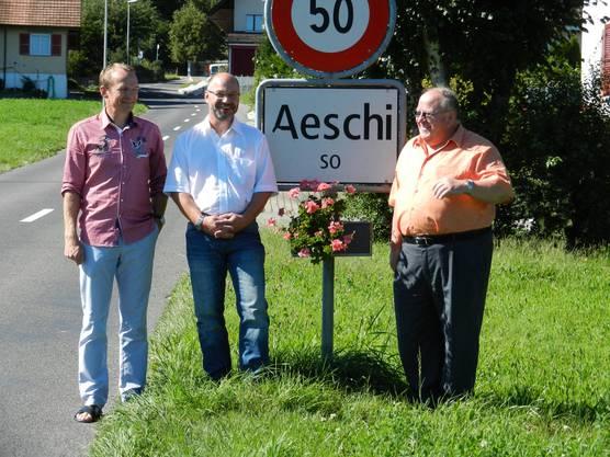 Aus drei mach zwei - Thomas Jäggi (Bürgergemeinde Aeschi), René Sutter (Einheitsgemeinde Steinhof) und Urs Müller (Aeschi)