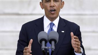 US-Präsident Obama bei seiner Rede vor dem Lincoln Memorial