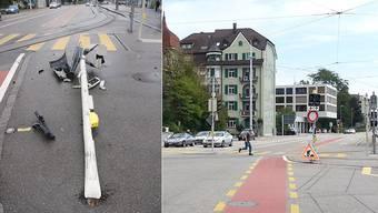 Der Autofahrer fuhr diese Ampel beim Bahnhof Solothurn um. Die Polizei hat an der Stelle ein Bauarbeiten-Schild aufgestellt.