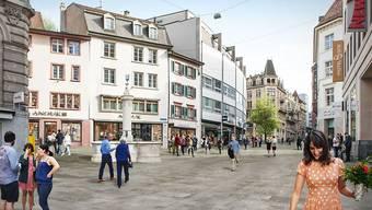 Visualisierung der Neugestaltung der Freien Strasse in Basel.