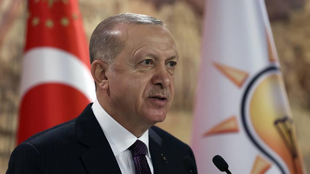 HANDOUT - Recep Tayyip Erdogan, Präsident der Türkei, spricht während einer Videokonferenz zu Mitgliedern seiner Regierungspartei. Foto: ---/Turkish Presidency/ AP/dpa