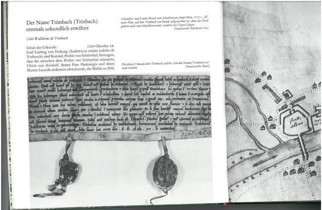 In dieser lateinisch geschriebenen Pergamenturkunde vom 18.Oktober 1244 wurde der Name Trimbach das erste Mal erwähnt. Das Wort «Trinbach» findet sich in der untersten Zeile des Urkundentextes ganz links.Originalurkunde: Staatsarchiv Basel