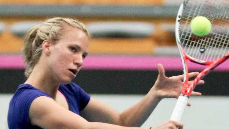 Die aufstrebende Viktorija Golubic im Vorwärtsgang (Foto aus einer Trainings-Session)