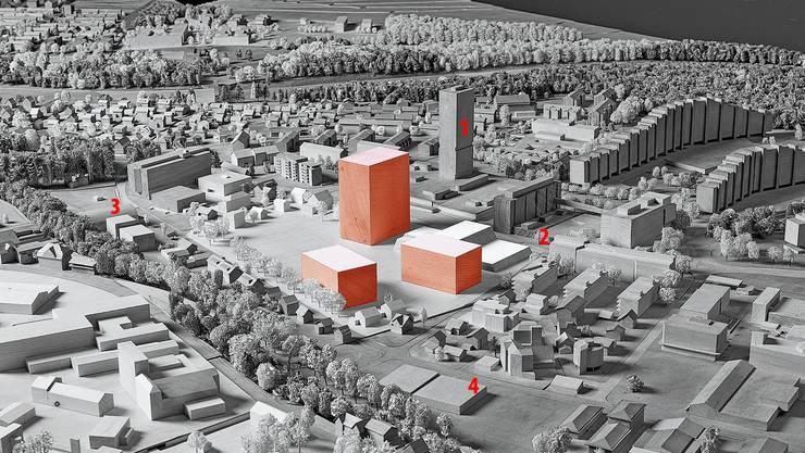 Der Blick auf die Telli mit dem Telli-Hochhaus (85 Meter), der geplanten Kantonalen Notrufzentrale (2), der Berufsschule (3) und der Postautogarage (4). Variante 1 (orange markiert) mit einem 60-Meter-Schulhaus-Hochhaus wäre schweizweit einzigartig.