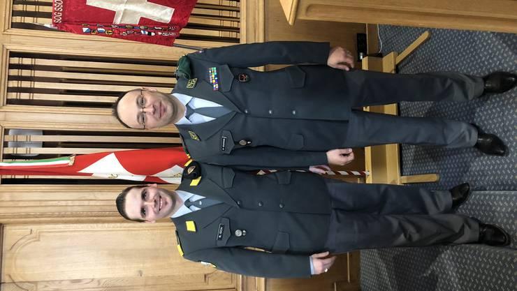 von links: Hauptmann Nicola Isch (neuer Präsident), Oberstleutnant Michael Käsermann (bisheriger Präsident)