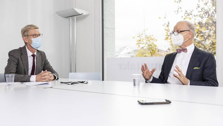 Streitgespräch zwischen den beiden Unternehmern Andreas Geistlich, links, und Dietrich Pestalozzi zur Konzernverantwortungsinitiative.