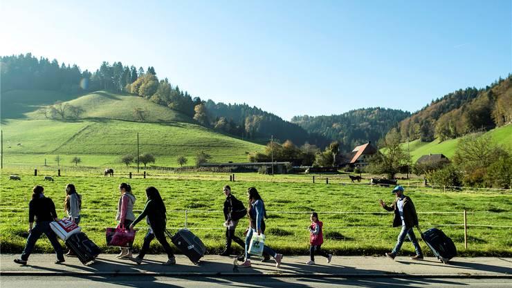 Willkommener als die SVP-Spitze behauptet: Syrische Flüchtlinge in Schafhausen im Emmental.