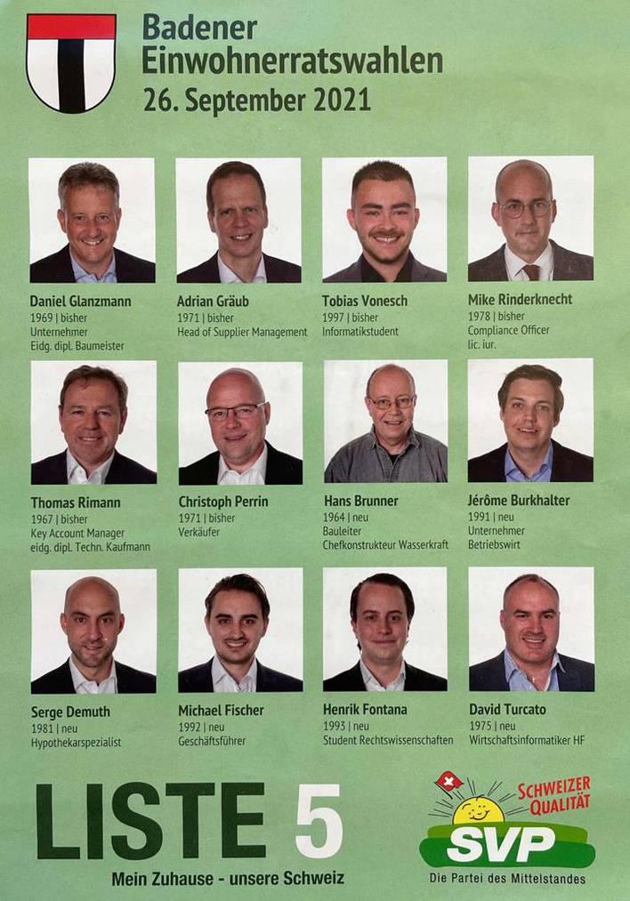 Die Liste 5 für die Einwohnerratswahlen in Baden ist eine reine Männersache.