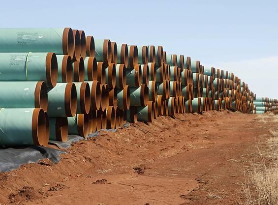 Alles bereit: Röhren für die geplante Keystone-XL-Öl-Pipeline von Kanada durch die USA. (Archivbild)