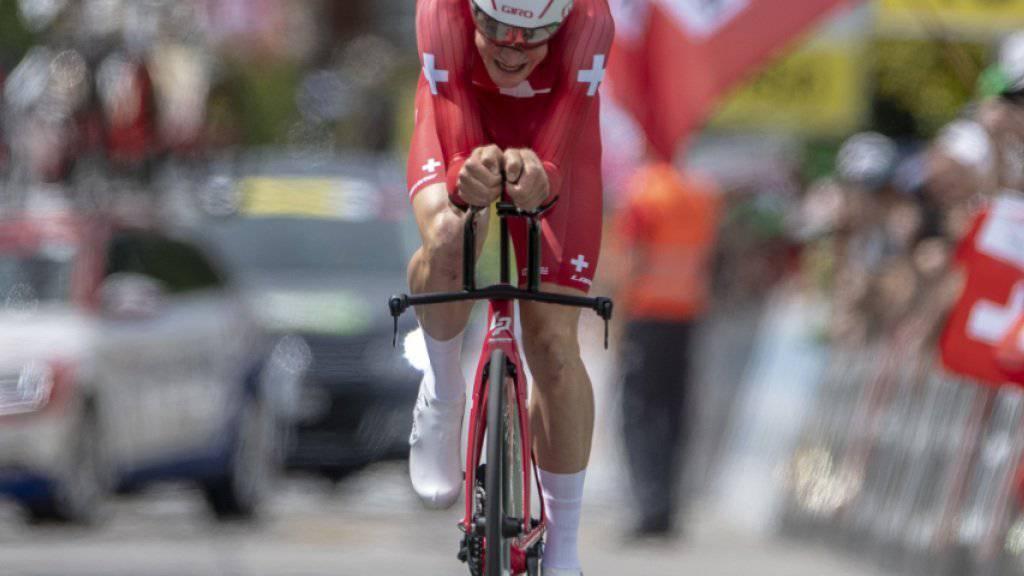 Stefan Küng am ersten Zeitfahren in Langnau, wo er den Sieg klar verpasste. Heute tritt er im Oberwallis zur Revanche an