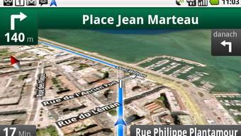 Das ist Googles neuer Gratisdienst: Mit «Maps Navigation» führt einen der Datenriese schnell von A nach B. Google kombiniert das Angebot mit anderen Gratis-Services.
