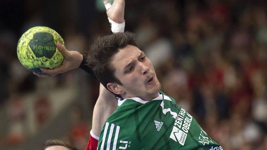 Thuns Nicolas Raemy war mit 7 Treffern der erfolgreichste Torschütze beim 26:20-Heimsieg im Cup-Halbfinal gegen Kriens-Luzern