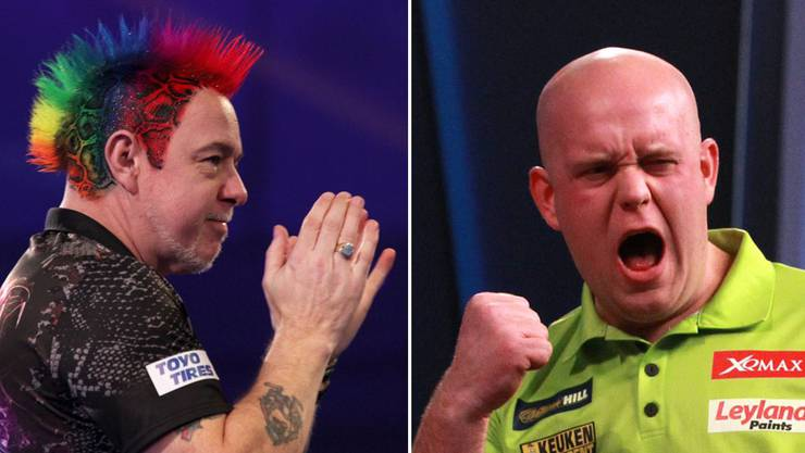 Grosses Duell im WM-Final: Peter Wright und Michael van Gerwen.