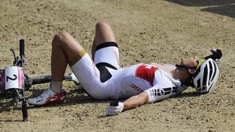 Der Schweizer Nino Schurter holt sich die Silbermedaille beim Olympischen Mountainbike-Rennen. Gold geht an den Tschechen Jaroslav Kulhavy.