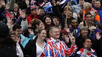 Grossbritannien-Unterstützer am Sonntag auf den Falklandinseln