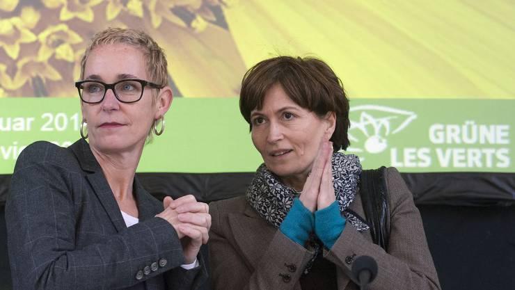 «Überhaupt kein Problem»: Grünen-Co-Präsidentin Regula Rytz (rechts) hat kein Problem, damit, ihre Partei Geld von Wirtschaftsdachverband Economiesuisse nimmt, Rechts Generalsekretärin Miriam Behrens.