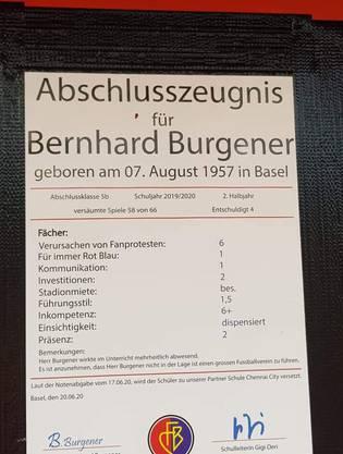 Burgeners Abschlusszeugnis. Unterzeichnet von Schulleiterin Gigi Oeri.