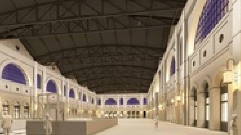 Eine dezente Lichtführung soll die historischen Fassaden in der Zürcher Bahnhofshalle aufwerten. Die halbrunden Fenster werden in der Nacht blau angestrahlt.