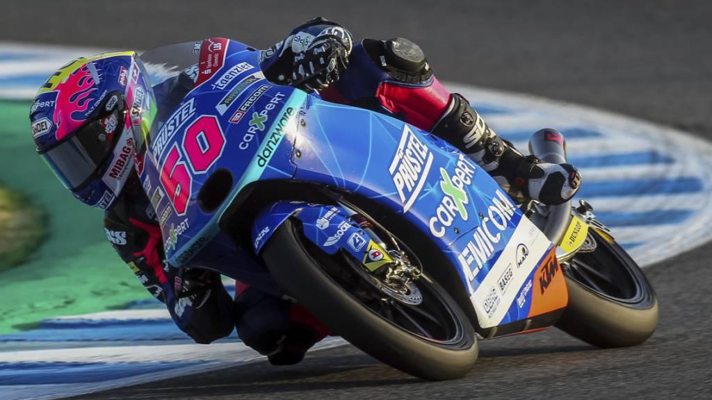 Bezahlt aktuell noch Lehrgeld in der WM: der Freiburger Jason Dupasquier auf seiner KTM in Jerez.