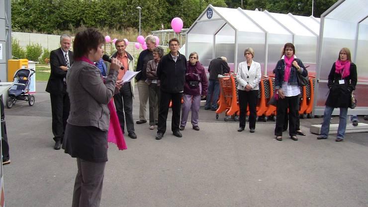 Fränzi Burkhalter –Rohner, Präsidentin der Alzheimervereinigung Sektion Solothurn, vor der Migros Langendorf