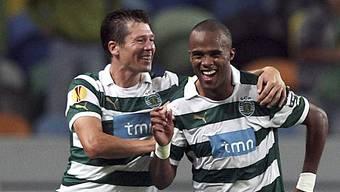 Evaldo (rechts) traf für Sporting Lissabon zum 1:0