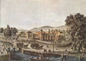 Der erste Zürcher Bahnhof im Jahr seiner Eröffnung 1847: Er befand sichzwar am heutigen Standort, aber er lag doch noch ausserhalb der Stadt.