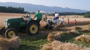 Der «Fahr-Bindemäher» aus den 1940er-Jahren hinter einem Traktor Steyr von 1950.