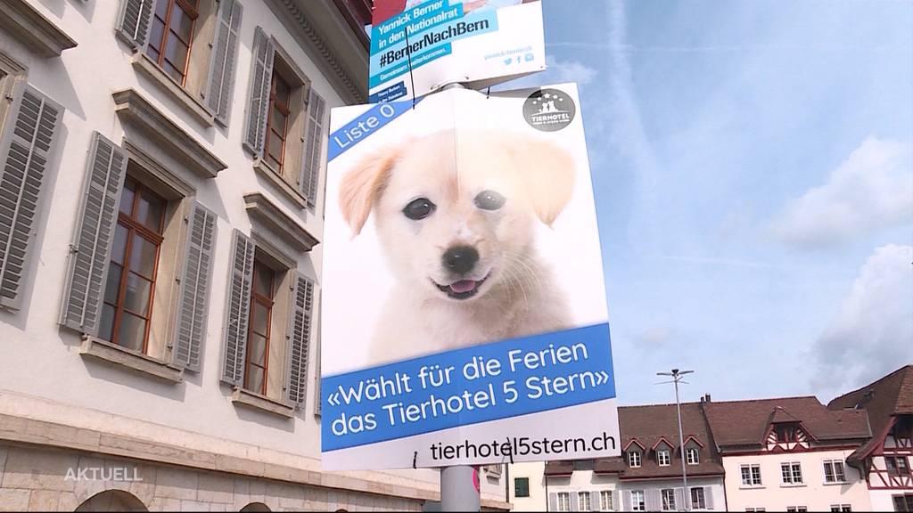 Illegales Wahlplakat wirbt für Tierhotel