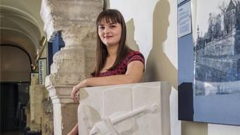 Die Steinbildhauerin Natascha Hess stellt ihre Abschlussarbeit im Steinmuseum neben der Jesuitenkirche vor.Andreas Kaufmann