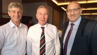 Stadtrat Daniel Siegenthaler, FCA-Präsident Alfred Schmid, und Martin Kull, CEO HRS