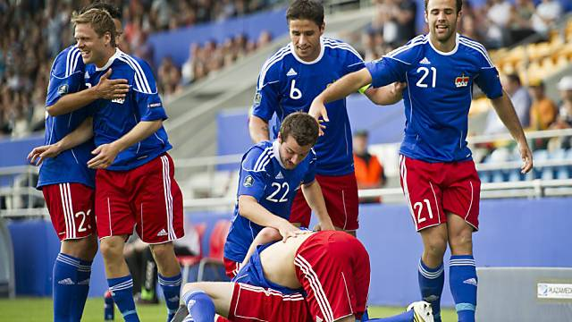 Liechtenstein nach dem 2:0 gegen Litauen im Glück.