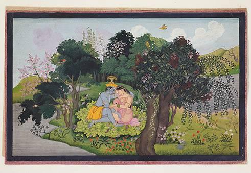 Krishna und Radha als Liebespaar in einer paradiesischen Landschaft Gemalt von einem Nachkommen der ersten Generation des Künstlers Nainsukh von Guler Indien, Pahari-Region.