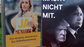 Plakate der Befürworter und Gegner der Selbstbestimmungsinitiative.