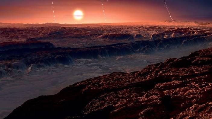 Steine, rotes Licht und fliessendes Wasser: So stellen sich die Forscher den Planeten Proxima b vor. (Visualisierung)