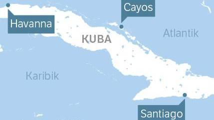 Die Insel Kuba in der Karibik. Hauptstadt des Inselstaates ist Havanna, die Stadt Santiago im Süden der Insel gilt als wichtiges kulturelles Zentrum.