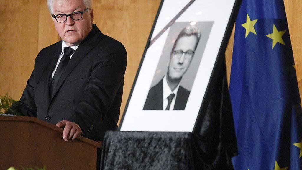 Aussenminister Steinmeier nannte Westerwelle an der Trauerfeier einen Menschen mit ausgeprägter «menschlichen Sensorik».