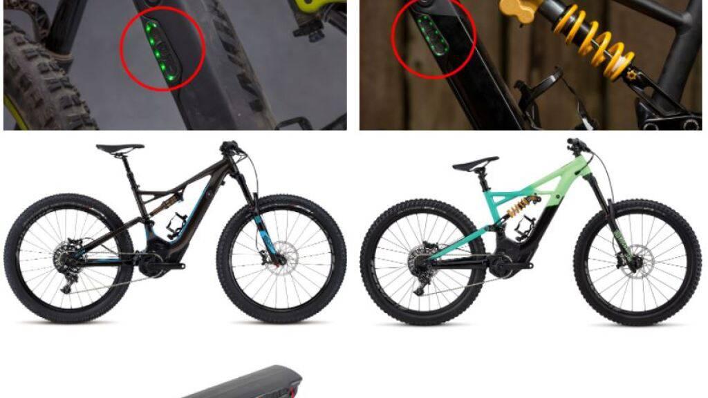 Die Akkus der Marke Specialized mit Brandgefahr sind an der seitlichen Beschriftung erkennbar.