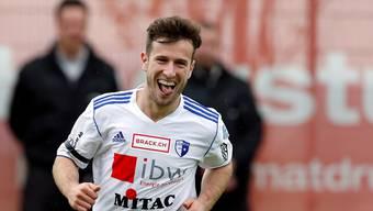 Mergim Brahimi (FC Wohlen) jubelt ueber das 1:0.