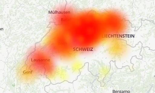 Das Swisscom-Netz war am heutigen Mittwoch in der Nordschweiz und Teilen der Ost- und Westschweiz gestört. (Bild: www.allestörungen.ch/Open Street Map)