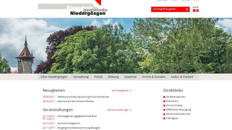 Die neue Niedergösger Homepage konnte im Vergleich zum ersten Ranking eine ganze Note dazugewinnen.