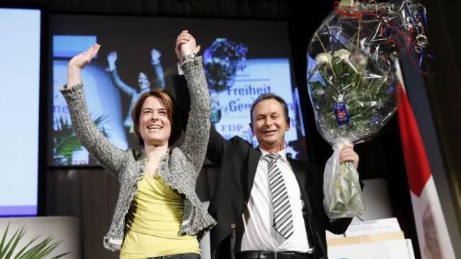 Neue FDP-Präsidentin, alter Präsident: Petra Gössi mit Philipp Müller.