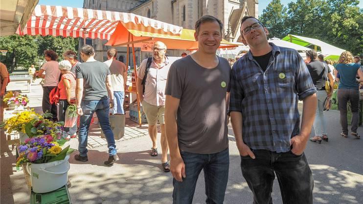 Die Co-Präsidenten des Vereins Matthäusmarkt, Hannes Rau (Mitbegründer, links) und Kornel Vogt.