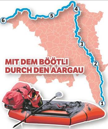 Reise durch den Aargau im Schlauchboot, von Südosten (Oberrüti) nach Nordwesten (Kaiseraugst) mit Übernachtungen in der freien Natur.