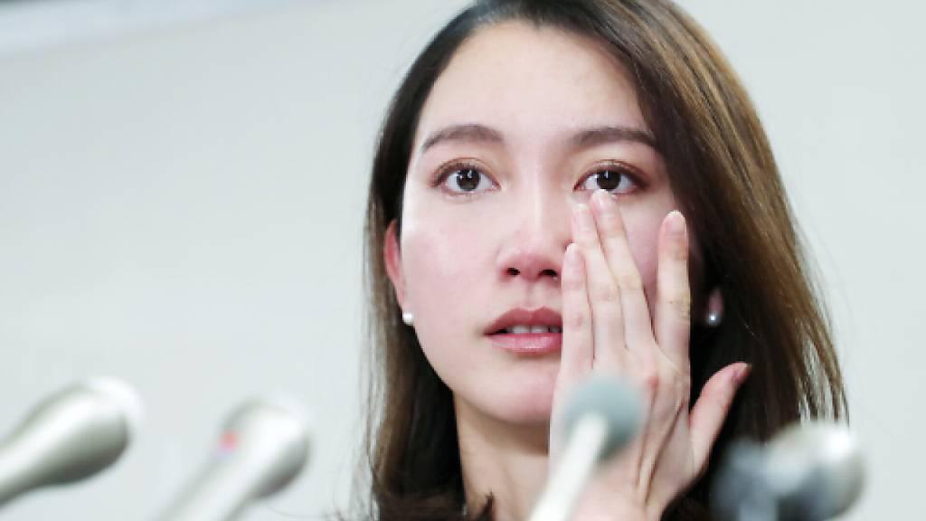 Die Journalistin Shiori Ito während einer Pressekonferenz vom Mittwoch.  EPA/JIJI PRESS JAPAN OUT EDITORIAL USE ONLY/NO ARCHIVES Geo-Information: Japan/Tokio Quelle: EPA Fotograf: JIJI PRESS