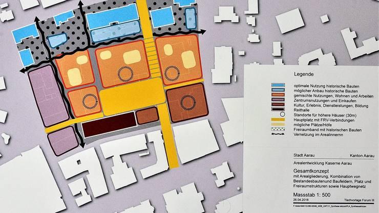 Drei Entwicklungsbänder: Im Norden die historischen Gebäude, das Mittelstück mit dem Platz, im Süden dominiert die Reithalle.