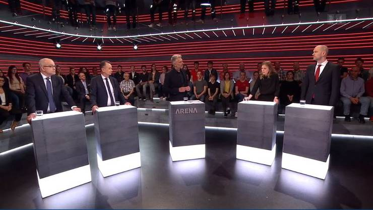 Die «Arena»-Teilnehmer von links nach rechts: Gregor Rutz, Philipp Müller, Moderator Sandro Brotz, Nadine Masshardt und Peter G. Kirchschläger.