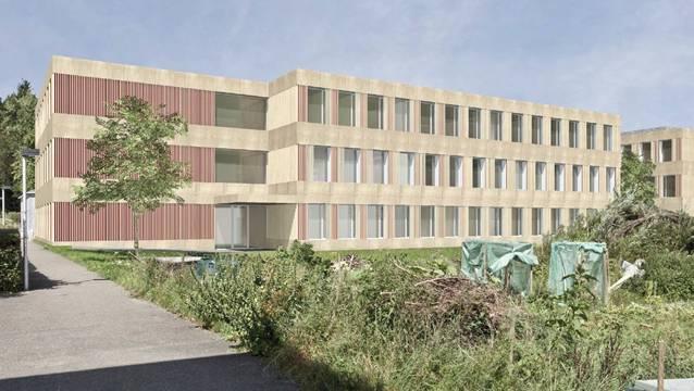 So sollen sich dereinst die beiden Schulbauten der erweiterten Schulanlage Rütihof im Endausbau präsentieren. zvg