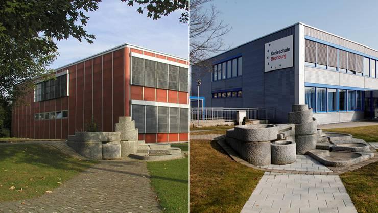 Kreisschule Bechburg: links bis Ende Schuljahr 2004/2005 in rot, recht heute in Silbergrau und blau.