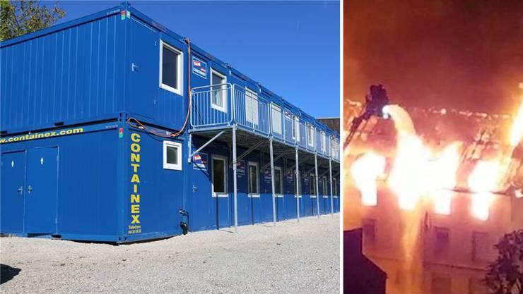 Arbeiten im Container: Das provisorische Bürogebäude der Spyk Bänder AG, nachdem es in der Fabrik gebrannt hat.